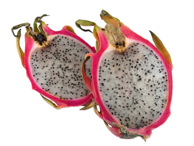 The inner flesh of a dragon fruit is edible and has a taste