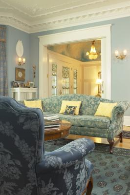 How to arrange furniture in a living room with a door on for Traditional home decor