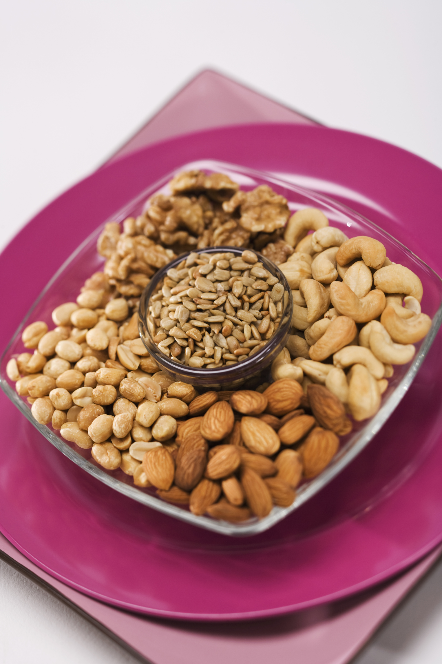 Nuts and seeds are good plant-based sources of protein.