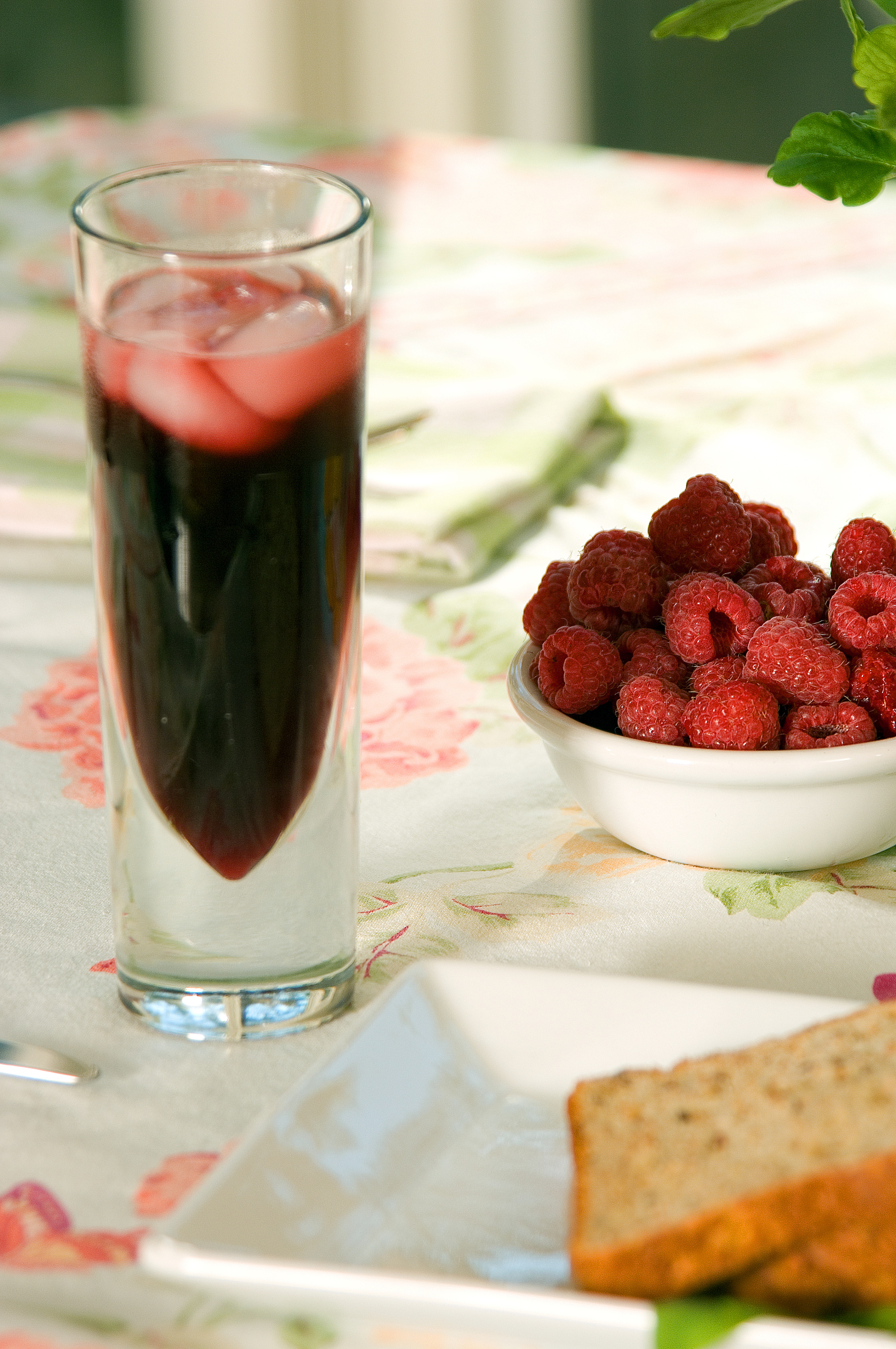 Commercial raspberry juice is strained to remove seeds.