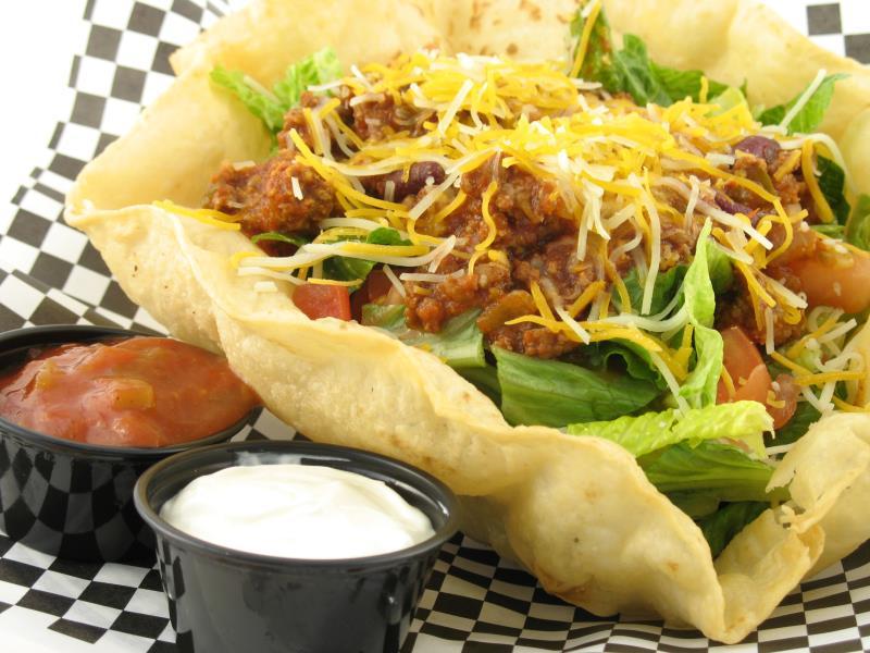 taco salad bowl. Photo Credit Christy Thompson/Hemera/Getty Images