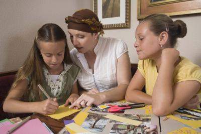Scrapbooking with friends helps you come up with new ideas.
