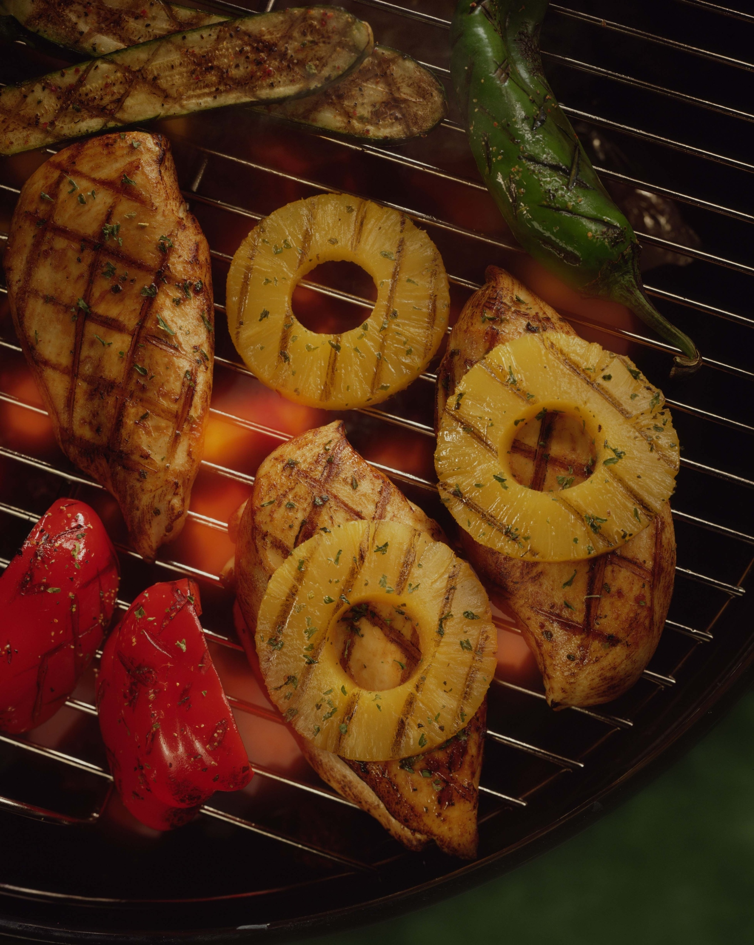 Grilled chicken is moist with a smoky flavor.